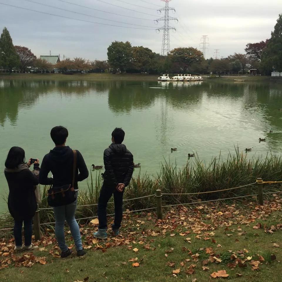 川越水上公園で池を眺める参加者